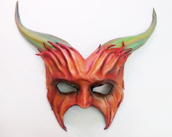 Leather Horned Creature Pan Satyr Goat Mask  lightweight easy to wear entirely handcrafted heavy elastic straps