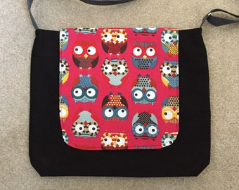 Red Owl Fabric Messenger Bag, Owl Print Cross Body Bag, Owl Laptop Bag, Commuter Bag, Work Bag, Birthday Gift, Gift For Owl Lovers