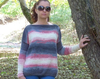 New hand knitted wool sweater,Handcrafted pullover,Colorful design