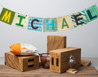 Customizable Name Banner ~ Fabric Word Banner ~ Photo Prop ~ MICHAEL Collection