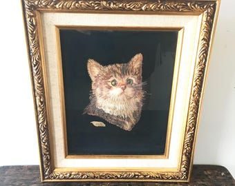 Vintage Cat Art, Hand-made Cat with Wood, 3-D Cat Art, Artist Signed