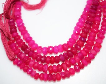 Natural Hot Pink Chalcedony Faceted Rondelle Beads 5 Inch Strand ,Hot Pink Chalcedony Rondelle Beads , 6.50-7.50 mm - MC269