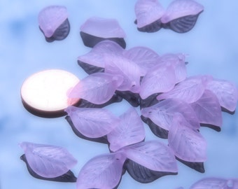20 Pcs - Lilac Acrylic Frosted Leaf Beads (18x11MM)