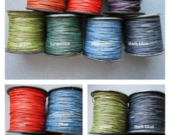 0.5 mm Natural Dye COLORS Leather, .5mm round Leather Cord, Leather cord, Round cord, Small Leather Cord, ClassicBead, Natural Dye Leather