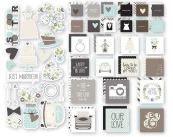 Simple Stories - Sn@p Wedding insta Squares & Pieces, Ephemera Pack, Scrapbook Stash, Smashbook, Junk Journal, Paper Embellishments
