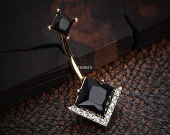 Golden Diamante Onyx Sparkle Belly Button Ring