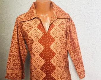 70's Vintage Men's Hippie Batik Shirt large