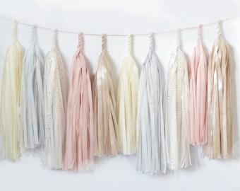 Dusty blush / blushing pink Tassel Garland Banner-fully assembled- Party Decor, Party, Wedding decor / nursery decor / tissue paper tassels