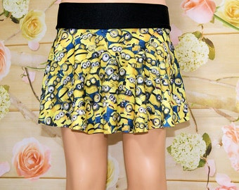 Minions Licensed Geeky Blue Yellow Cartoon Circle Twirl Skirt Child ALL Sizes - MTCoffinz