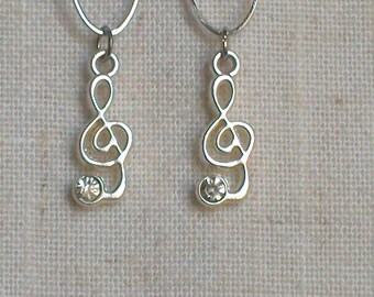 Treble Clef Earrings, Sheet Music, Music Note, Dangle Earrings, Radio, Stereo