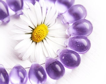 6x9mm Lilac czech drop beads, glass teardrops, light violet purple drops, pressed beads - 6x9mm - 20pc - 1180