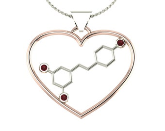 "2Tone molecule resveratrol ""wine"" solid gold love pendant set with genuine birthstones - Molecular Bliss"