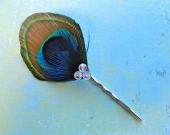 Natural Peacock and Bright Blue and Crystal Feather Bobby Pin, Feather Hair Pin