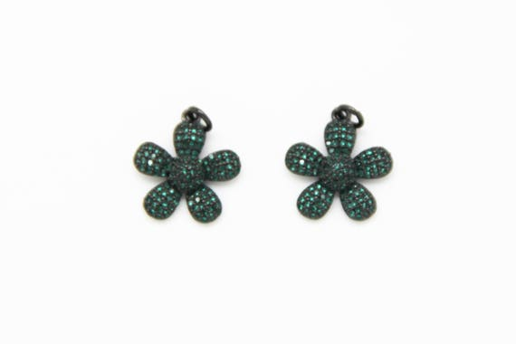 Emerald CZ Micro Pave 18mm Flower Pendant With CZ Bail