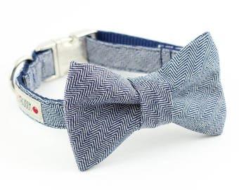 Indigo Herringbone Dog Bowtie Collar