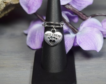 Pet Ring-Dog Ring-Pet Memorial Ring-Expandable Silver Plated Ring-Choice of Charm-Adjustable Ring