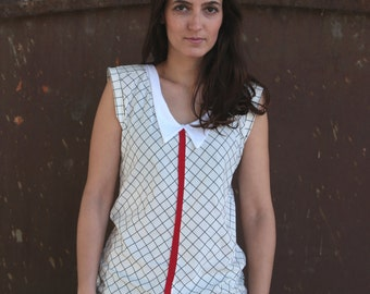 ON SALE 50% off!!!! Under 50,  Red line collared shirt in checkered white
