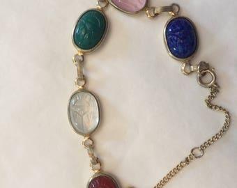 Vintage Large Scarab Goldtone Bracelet