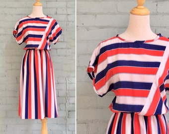 1970s striped dress / 70s blue red day dress / 1970s midi dress / 70s pattern dress