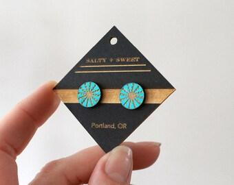 Laser cut earring | STUD: Turquoise Radiant