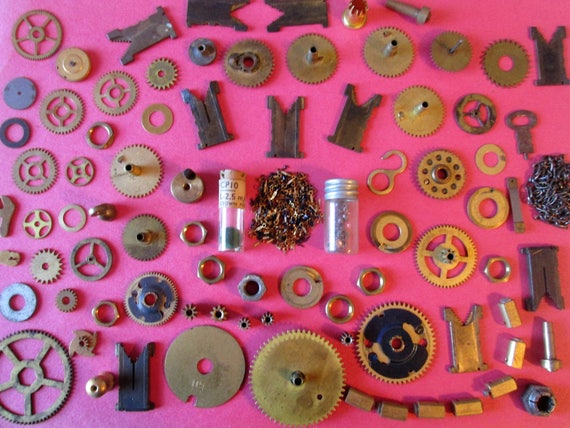 Big Lot of Assorted Brass Antique & Vintage Clock Parts and Hardware for your Clock Projects, Steampunk Art, Jewelry Making