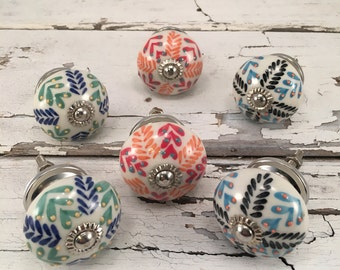 Set of 6 Knobs, Decorative Tomato Pull Craft Supply Knob, Ceramic Hand Painted Drawer Pulls, Cabinet Supplies, Item #475175976