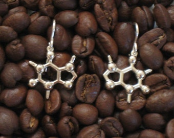 caffeine earrings in solid sterling silver