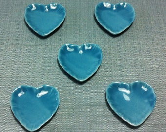Plates 5 Dishes Miniature Hand Painted Blue Hearts Ceramic Supply Tiny Small Dish Plate Tray Dollhouse Display Decoration Supplies Jewelry