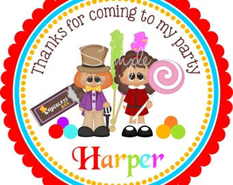 Chocolate Factory Willy Wonka Stickers, Personalized Stickers or Gift Tags, Charlie and the Chocolate Factory -Set of 12