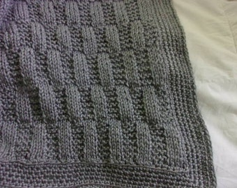 Hand knit Baby Blanket -staggered rib stitch - heather gray - made to order