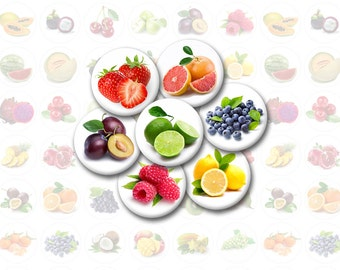 Fruits Printable 1-Inch Circles / Bottlecap Images / Strawberry, Citrus, Grapefruit, Orange, Watermelon, Peach, Kiwi, Banana, Raspberry
