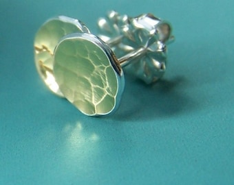 Tiny 22k Gold and Sterling Silver Pool Post Earrings