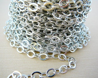 5 ft. 5 x 4.5mm Rhodium Silvertone Oval Flat Cable Chain