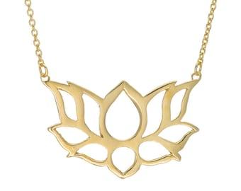 Gold Lotus Necklace, 14k Gold Lotus Pendant, Lotus Flower Necklace