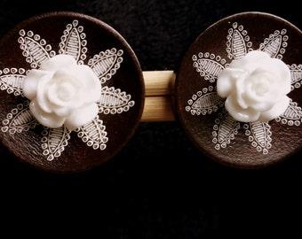 Dark Brown and White Flower Clip Earrings