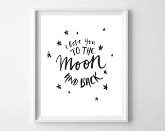 Black and White Nursery Moon Printable - Black and White Nursery Art Print - Modern Nursery Printable - Nursery Decor - Kids Room Decor