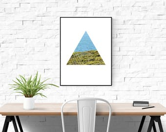 Pacific Ocean Print, Triangle Print, Green and Blue Contrast, Abstract Print, Modern Art, Geometric Art, Nature Photography, Minimalist