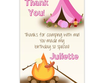 Camping Thank You Card - Pink Purple Camp Tent, Sleeping Bag, Camper Campfire Personalized Birthday Party Thank You - Digital Printable File