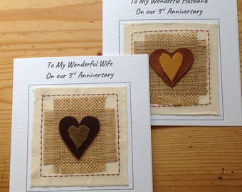3rd anniversary leather card for husband / wife. Third wedding anniversary card. I can customise and print your words at the top of the card
