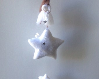 Waldorf star fairy mobile needle felted