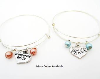 Mother of the Bride/Groom Pearl Expandable Charm Bracelets-Mother of the Bride gift-Mother of the Groom gift-Bridal Party gift, B1186