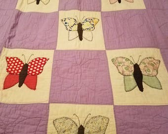 Antique Twin Butterfly Quilt lavender