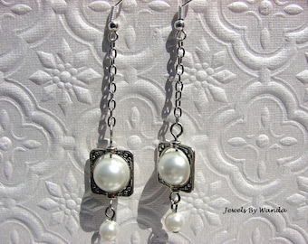CLEARANCE - Pearls and Metal Earrings