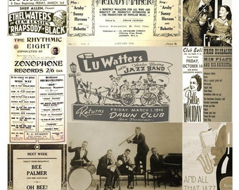 Jazz Backgrounds Collage Sheet - Instant Digital Download - Early 20th Century Ephemera - Playbills and Photos - Printable