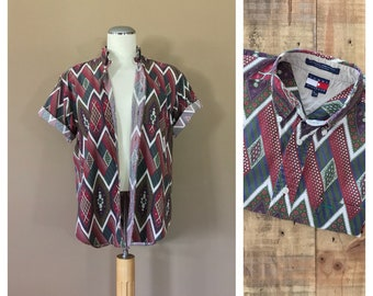 Tommy Hilfiger Shirt / 90s Button Up / Fresh Prince Shirt / 90s grunge shirt / 90s Button Down Shirt / 90s Shirt Tommy Hilfiger