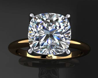 natalie ring - 2 carat cushion cut NEO moissanite engagement ring, cushion moissanite