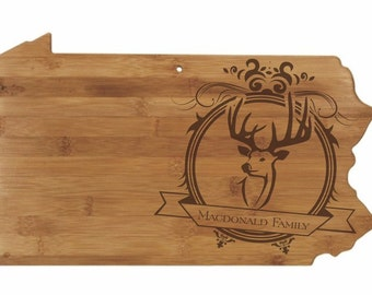 Personalized Pennsylvania Cutting Board - Pennsylvania Shaped Bamboo Board Custom Engraved - Wedding Gift, Couples Gift, Housewarming Gift