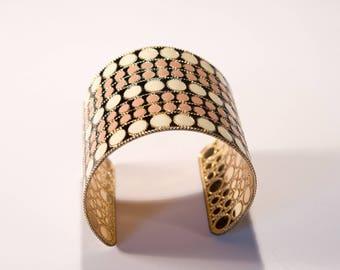 Wide Enamelled Ethnic Style Cuff Bracelet