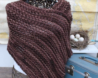 Chunky Variegated Brown Knit Poncho Hand Knit Wool Mohair Poncho Chunky Knit Poncho Variegated Brown Woman's Poncho Brown Cover Up