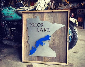 Steel and wood LAKE SIGN boxed in with customized lake